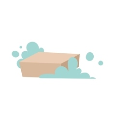 Piece of brown laundry soap with foam flat vector image