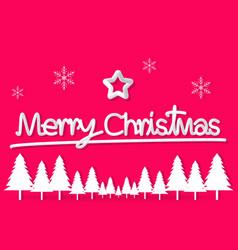 pink christmas day paper postcard snowflake star vector image
