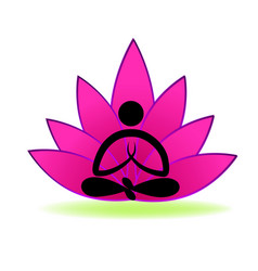 Pink lotus with meditating yoga silhouette vector