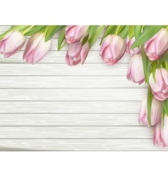 Pink tulips on wooden background EPS 10 vector