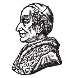 Pope leo xiii - side portrait vintage vector