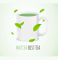 realistic 3d detailed matcha mug with elements vector image