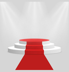 red carpet and podium white round pedestal with vector image