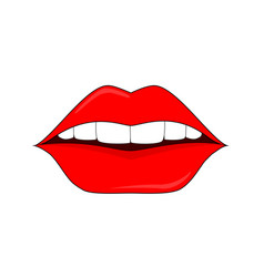 red lips logo for the beauty salon permanent vector image