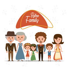 retro family grandparents with parents and vector image