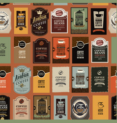 Seamless pattern with various coffee labels vector