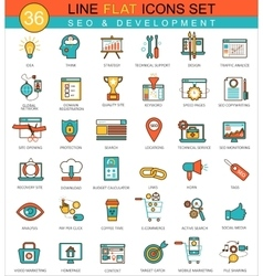 SEO development flat line icon set Modern vector