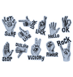 set 11 stickers with gestures and lettering vector image