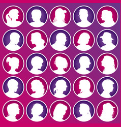 set avatars with realistic silhouettes vector image