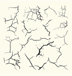 Set cracks different forms on white background vector