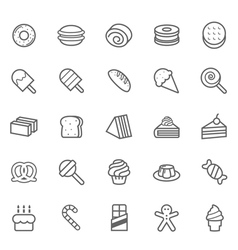 Set of Outline stroke Dessert and Sweet icon vector image