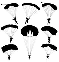 Set skydiver silhouettes parachuting vector image