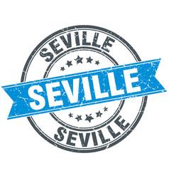 Seville blue round grunge vintage ribbon stamp vector