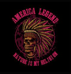 Skull indian america legend vector