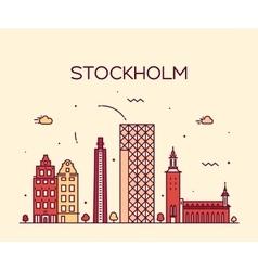 Stockholm skyline linear vector