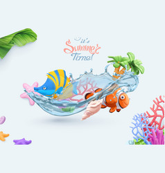 summer sea background 3d realistic coral reef vector image