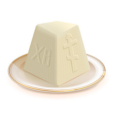 Traditional easter dessert cottage cheese vector