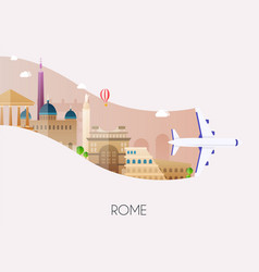 travel to rome traveling on airplane planning a vector image