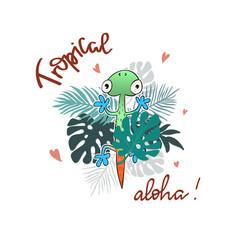 tropical summer slogan print vector image