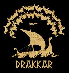 Viking scandinavian design drakkar vector