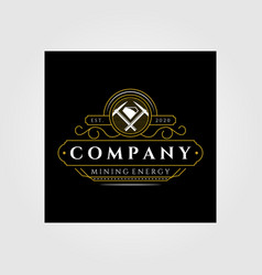 Vintage mining line art logo emblem badge retro vector