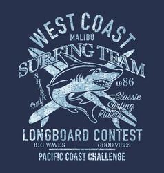 west coast longboard surfing shark team vector image