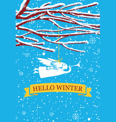 Winter banner with snow-covered branches and angel vector