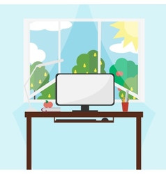 Workplace - style flat vector image