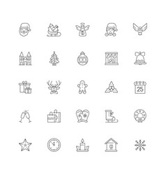 xmas symbols line design style icons set vector image