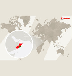 Zoom on oman map and flag world map vector