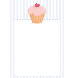 Cupcake on blue strips background card vector image