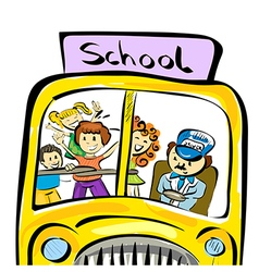 doodle school bus with kids vector image vector image