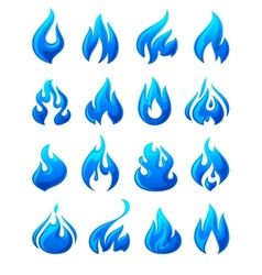 Fire flames set 3d blue icons vector image