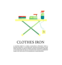 Iron and clothes on ironing board flat design vector image vector image