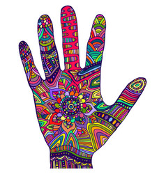 psychedelic decorative rainbow color palm doodle vector image
