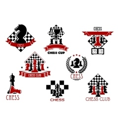 Chess game and sport club emblems or icons vector image