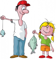 dad and daughter fishing trip vector image