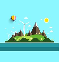 flat design landscape island in ocean nature vector image vector image
