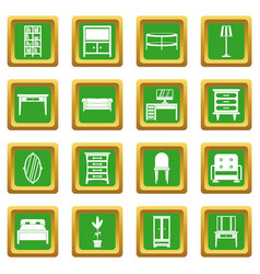 furniture icons set green vector image vector image