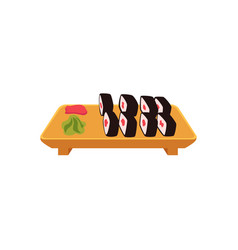 plate of sushi maki rolls with ginger and wasabi vector image vector image