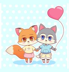 sweet little cute kawaii anime cartoon puppy fox vector image vector image