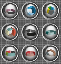 Business 3d pie charts set flat style over silver vector image