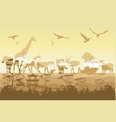 double exposure wild animals vector image vector image