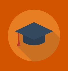 Education Flat Icon Graduation cap vector image vector image