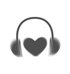 headphones with heart gray icon shaked at vector image vector image