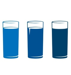 isolated water glass set vector image