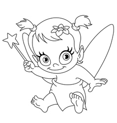 outlined baby fairy vector image