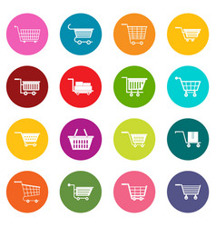 shopping cart icons many colors set vector image vector image