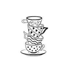 tea cups icon vector image