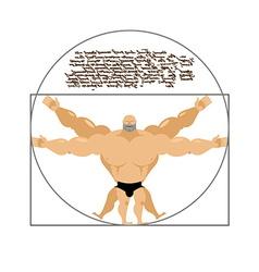Vitruvian strong man bodybuilder of leonardo da vi vector